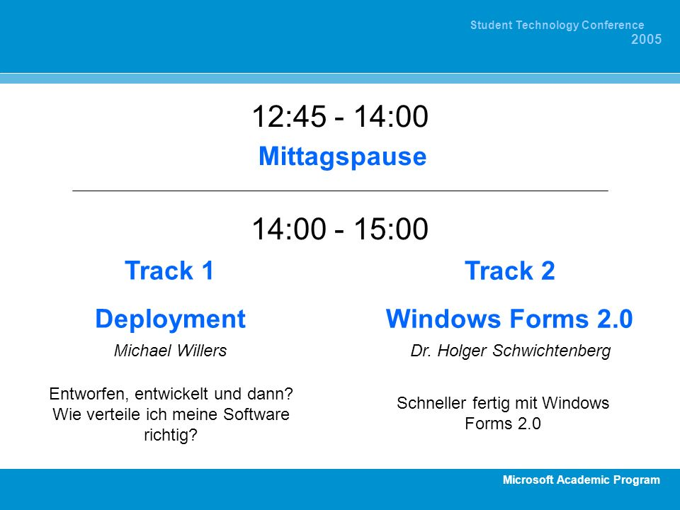 12:45 - 14:00 14:00 - 15:00 Mittagspause Track 1 Deployment Track 2