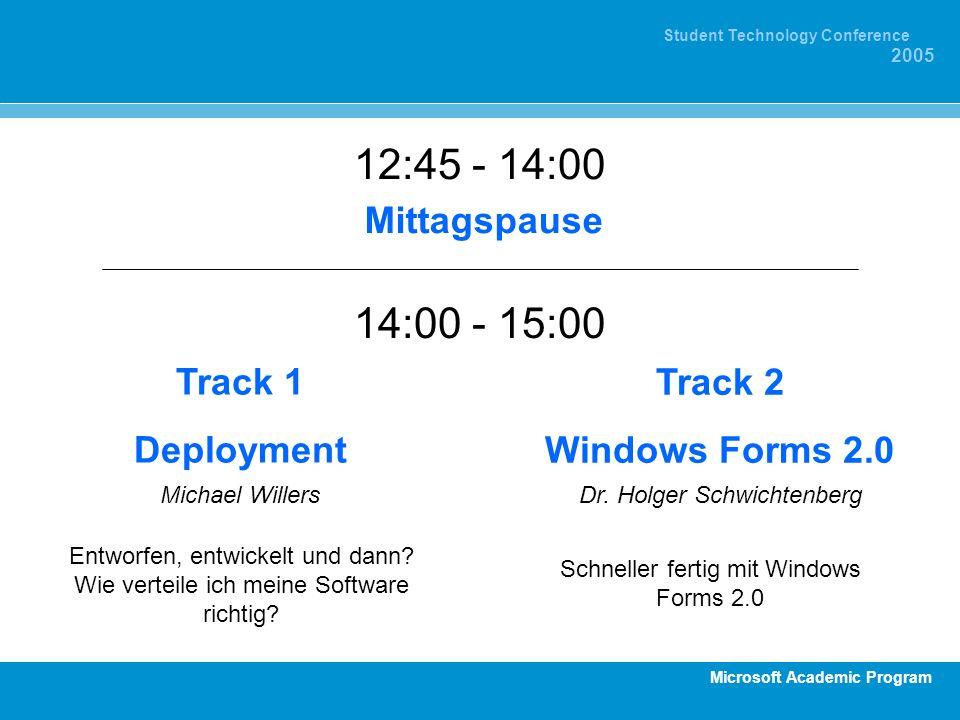 12:45 - 14:00 14:00 - 15:00 Mittagspause Track 1 Deployment Track 2