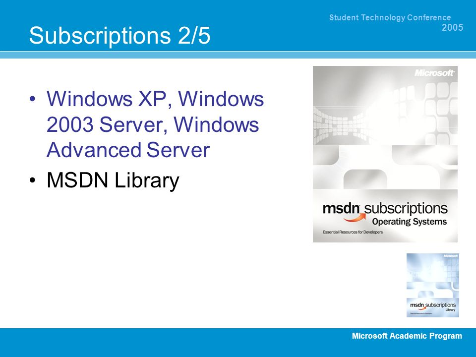 Subscriptions 2/5 Windows XP, Windows 2003 Server, Windows Advanced Server. MSDN Library. Operating Systems:
