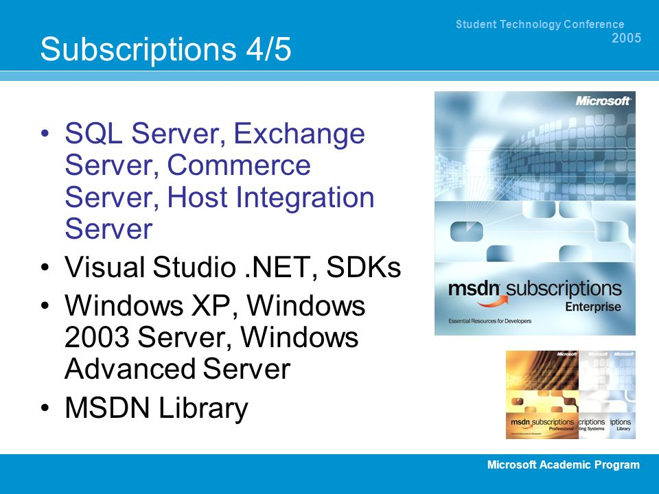 Subscriptions 4/5 SQL Server, Exchange Server, Commerce Server, Host Integration Server. Visual Studio .NET, SDKs.