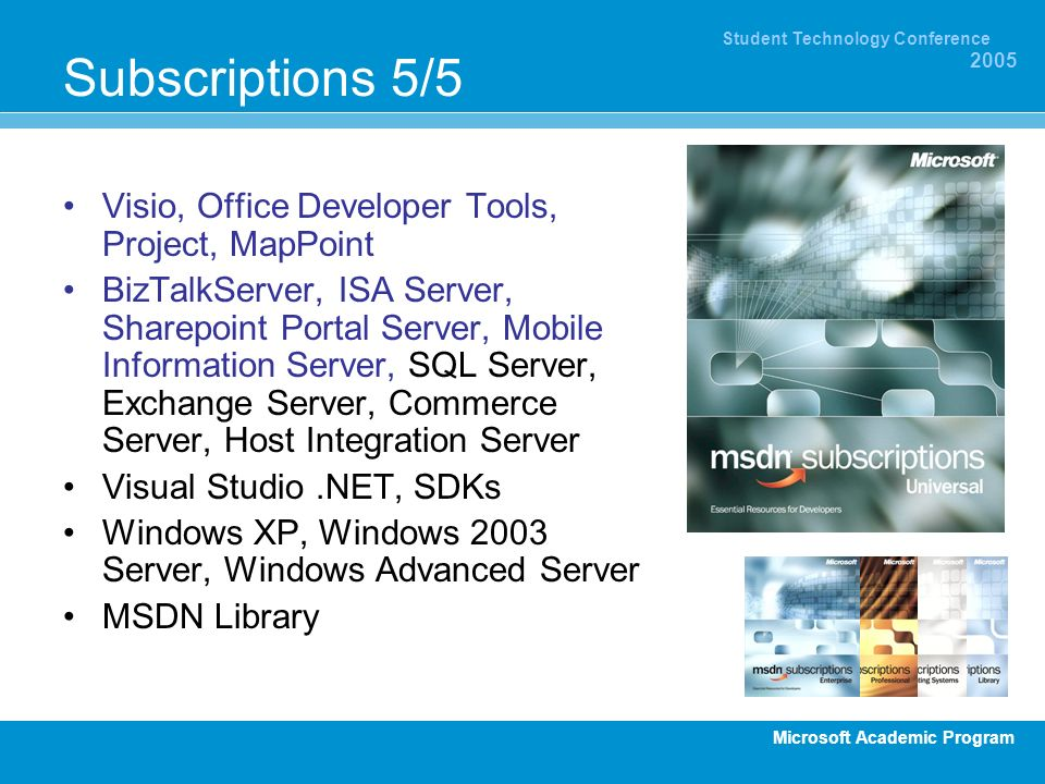 Subscriptions 5/5 Visio, Office Developer Tools, Project, MapPoint