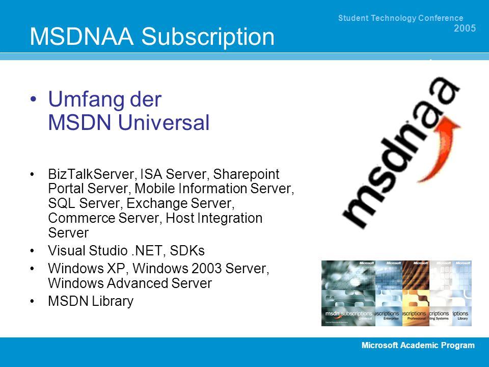MSDNAA Subscription Umfang der MSDN Universal