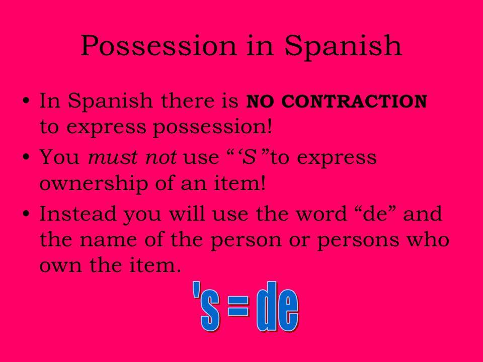 s = de Possession in Spanish