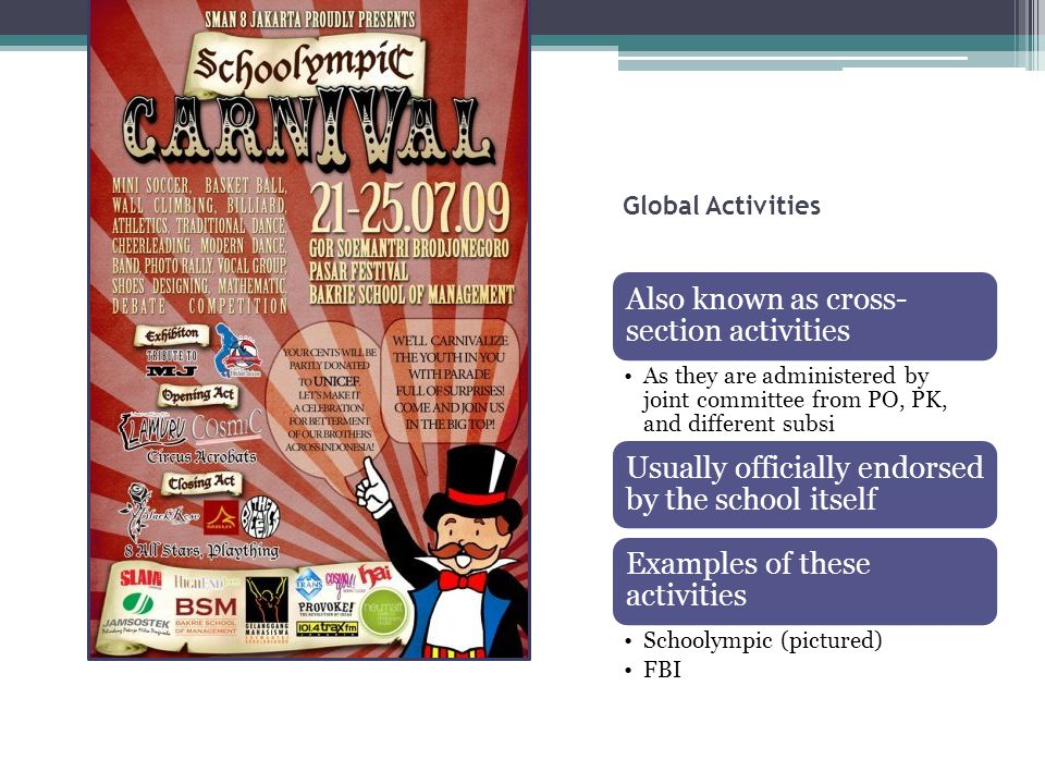Global Activities Also known as cross-section activities