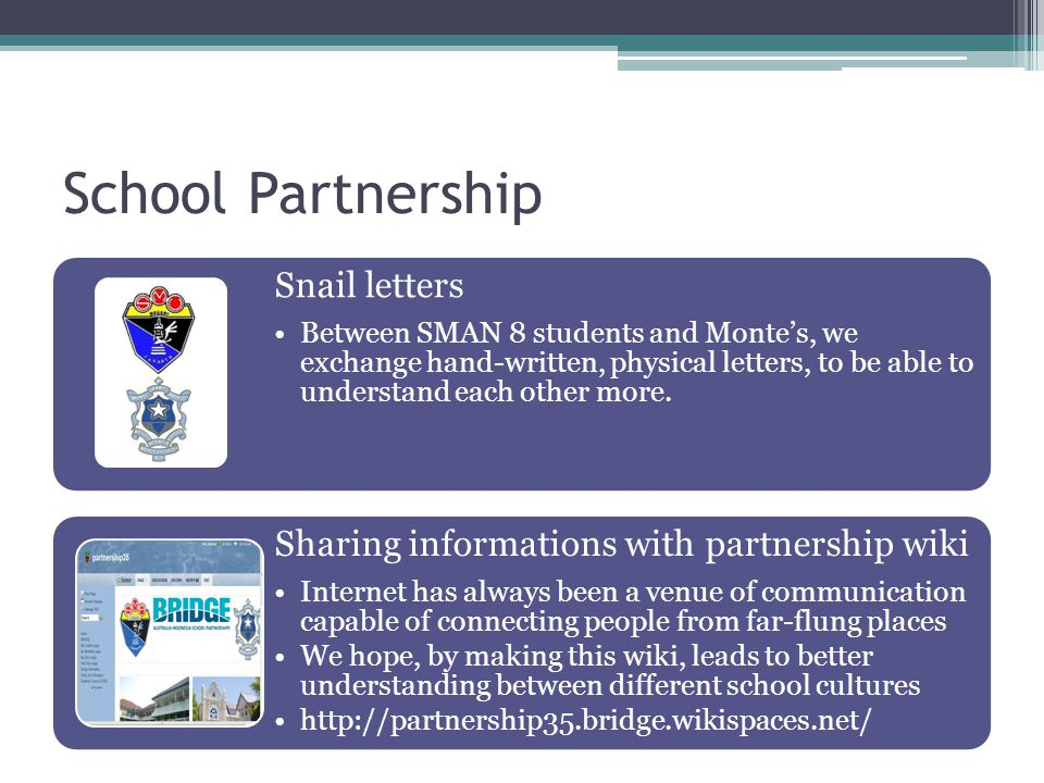School Partnership Snail letters