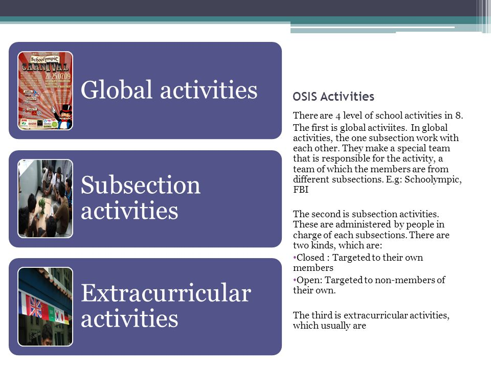 OSIS Activities There are 4 level of school activities in 8.