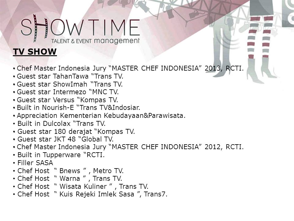 TV SHOW Chef Master Indonesia Jury MASTER CHEF INDONESIA 2013, RCTI.