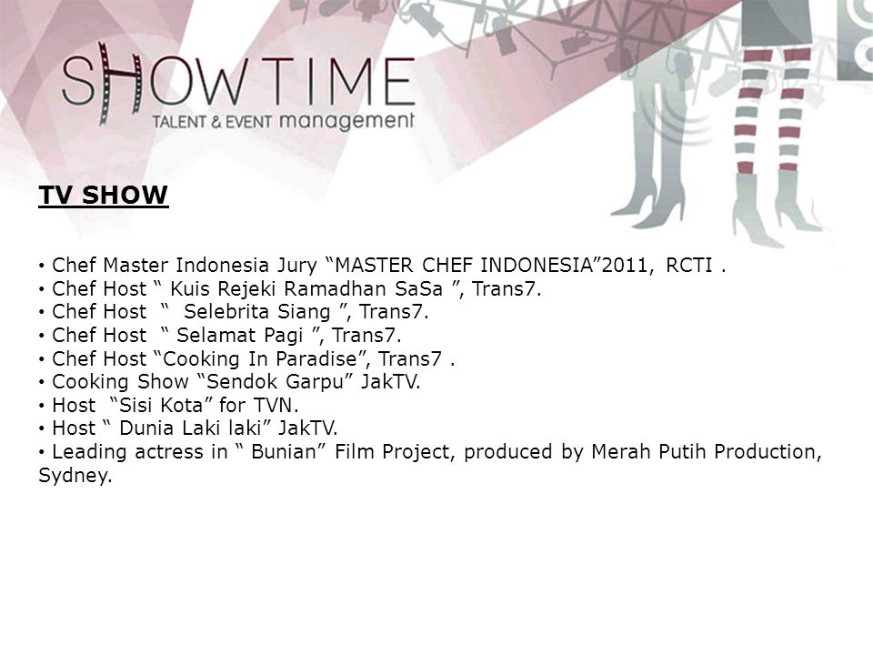 TV SHOW Chef Master Indonesia Jury MASTER CHEF INDONESIA 2011, RCTI .