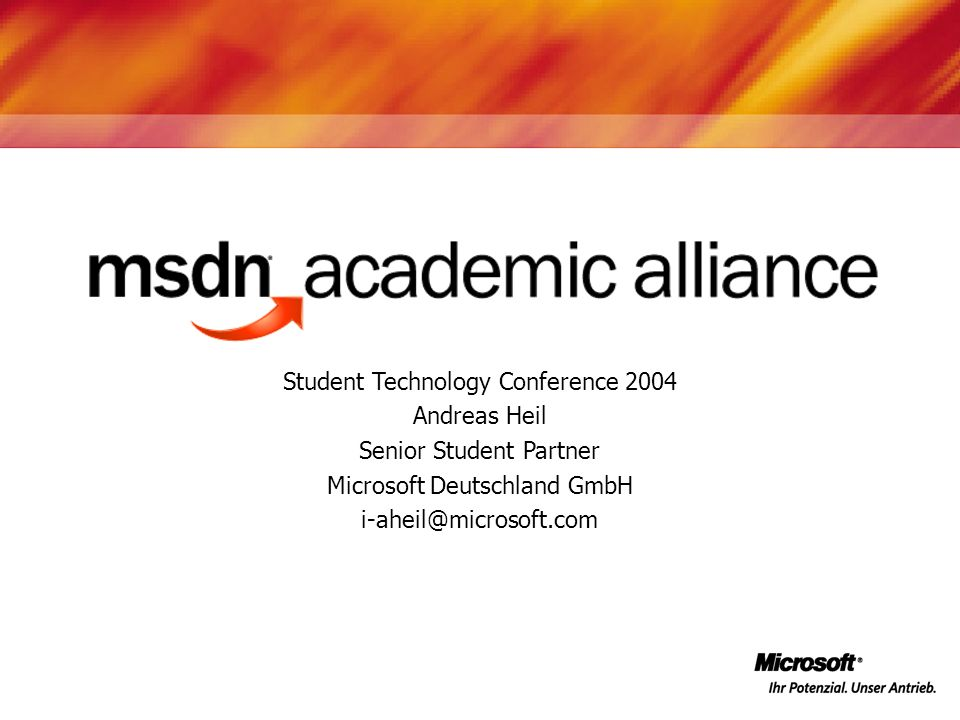 Student Technology Conference 2004 Andreas Heil Senior Student Partner