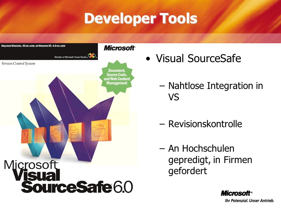 Developer Tools Visual SourceSafe Nahtlose Integration in VS