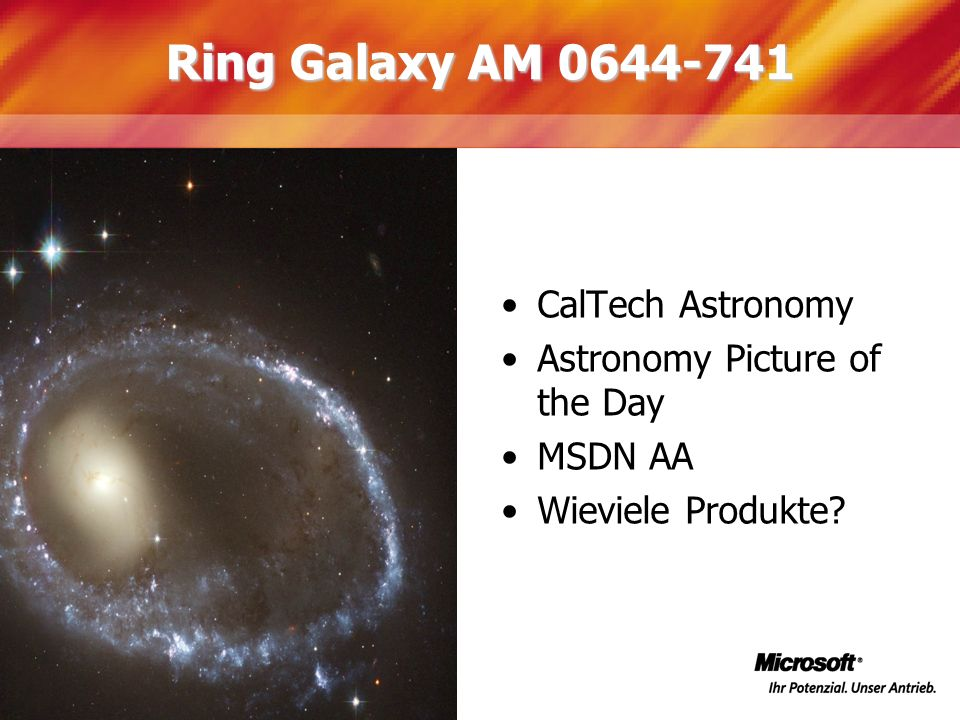 Ring Galaxy AM 0644-741 CalTech Astronomy Astronomy Picture of the Day