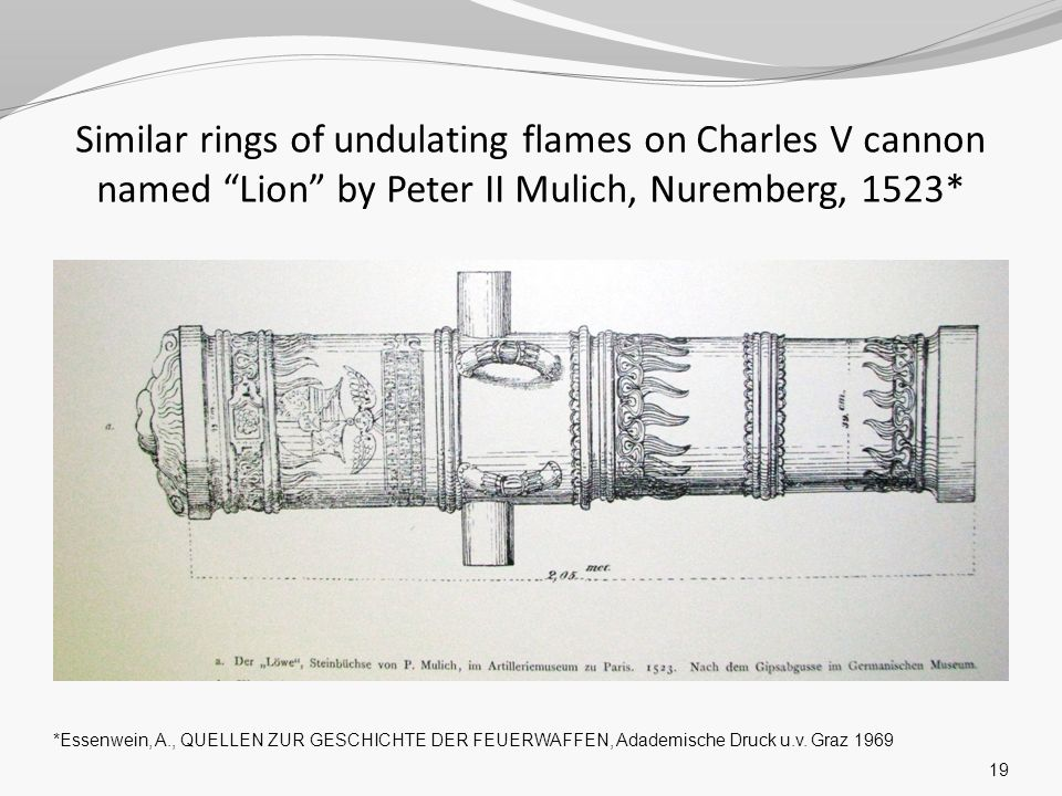 Similar rings of undulating flames on Charles V cannon named Lion by Peter II Mulich, Nuremberg, 1523*