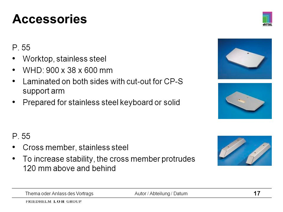 Accessories P. 55 Worktop, stainless steel WHD: 900 x 38 x 600 mm