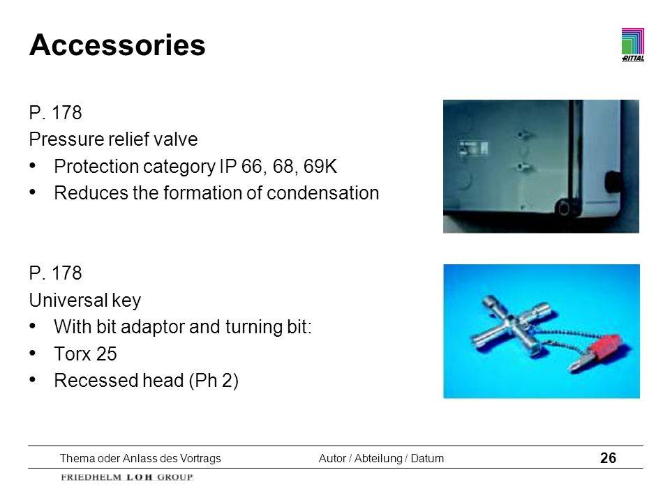 Accessories P. 178 Pressure relief valve