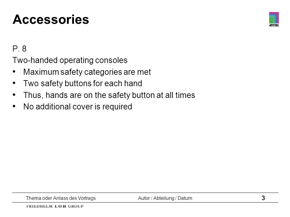 Accessories P. 8 Two-handed operating consoles