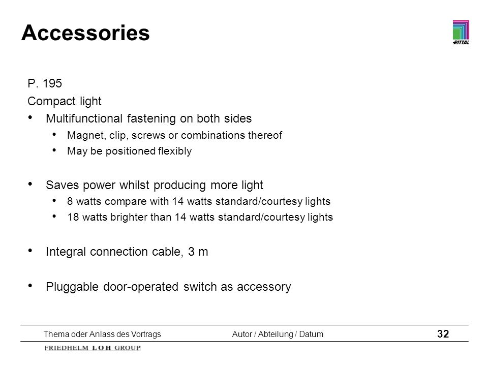Accessories P. 195 Compact light