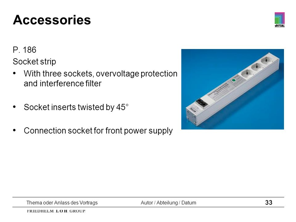 Accessories P. 186 Socket strip