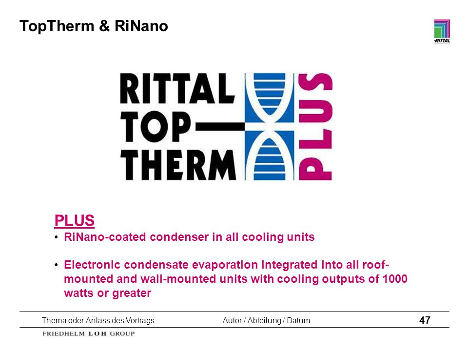 TopTherm & RiNano PLUS RiNano-coated condenser in all cooling units