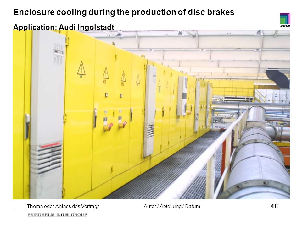 Enclosure cooling during the production of disc brakes Application: Audi Ingolstadt