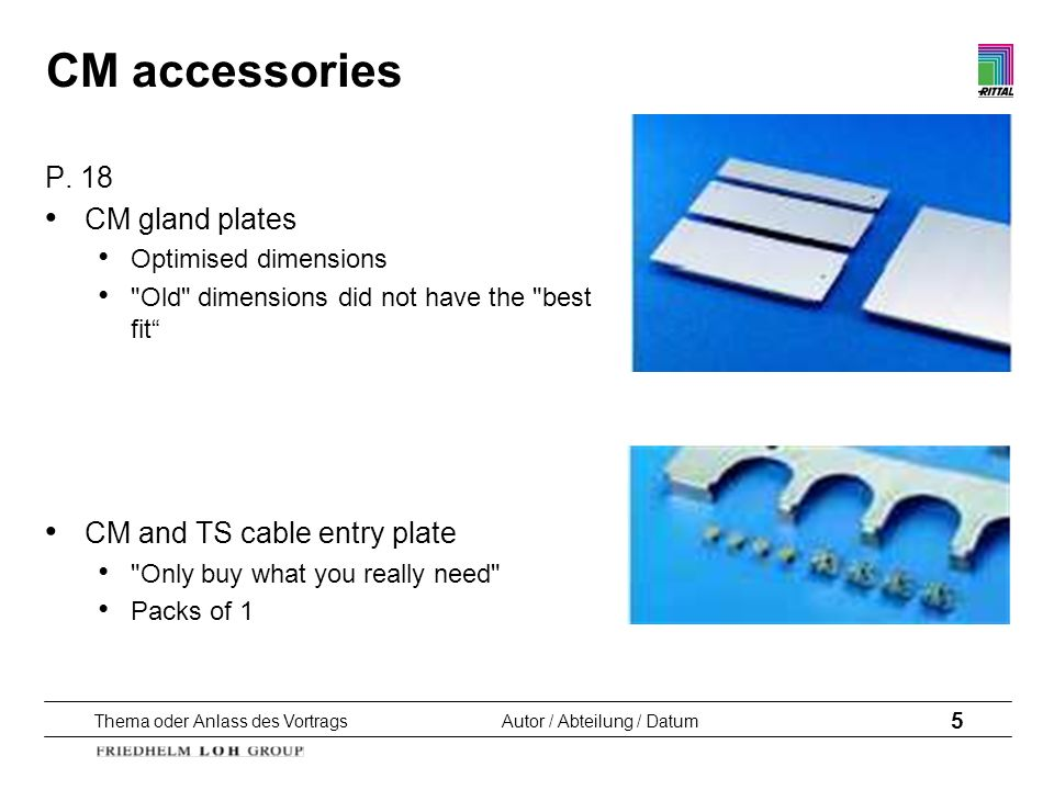 CM accessories P. 18 CM gland plates CM and TS cable entry plate