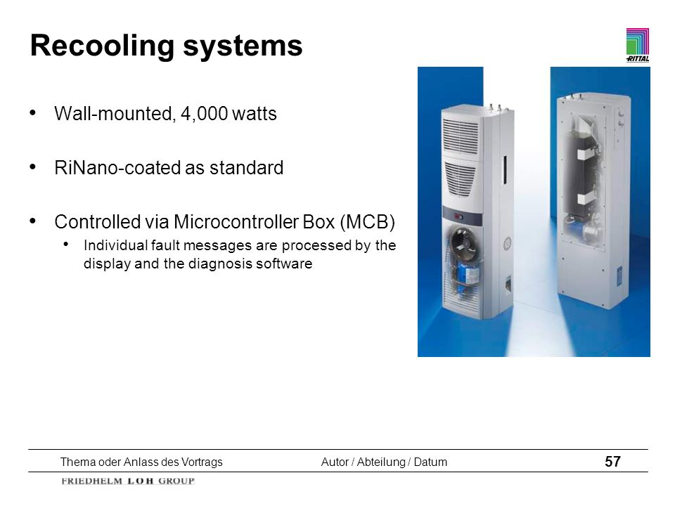 Recooling systems Wall-mounted, 4,000 watts RiNano-coated as standard