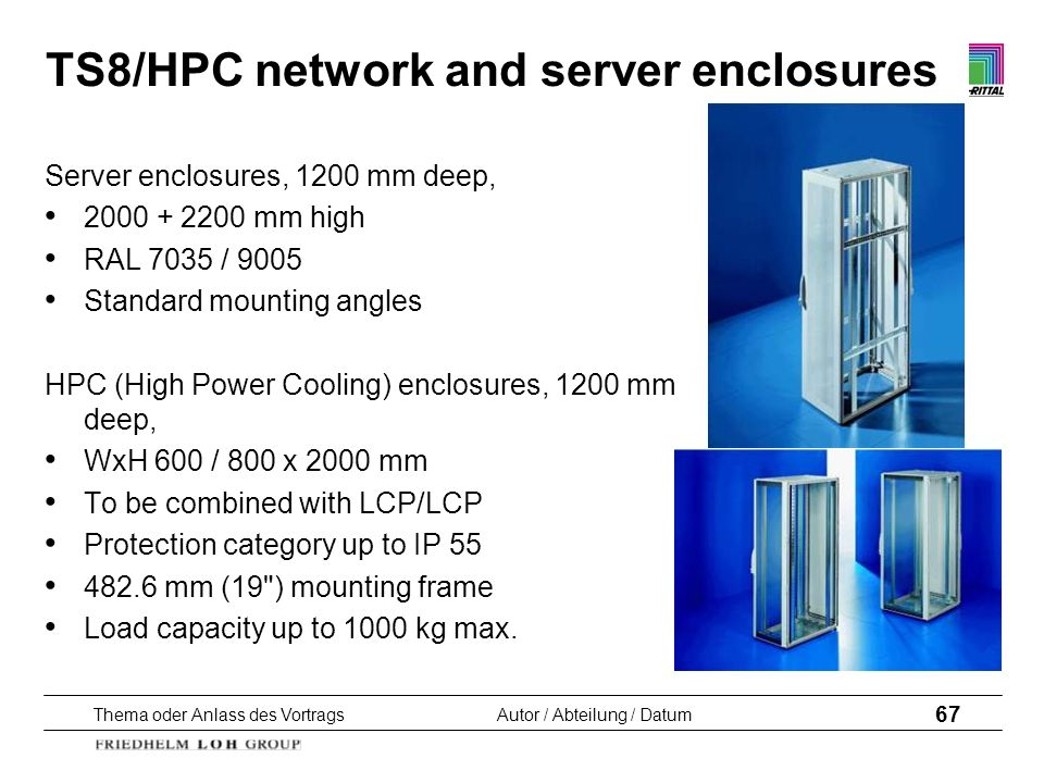 TS8/HPC network and server enclosures