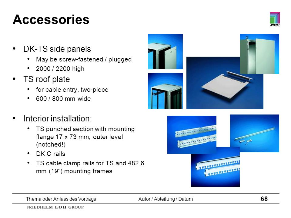 Accessories DK-TS side panels TS roof plate Interior installation: