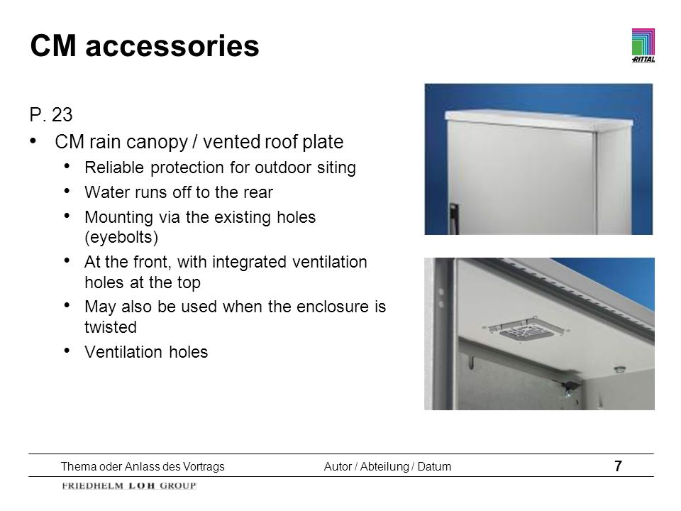 CM accessories P. 23 CM rain canopy / vented roof plate