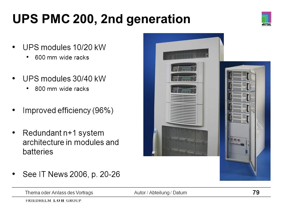 UPS PMC 200, 2nd generation UPS modules 10/20 kW UPS modules 30/40 kW