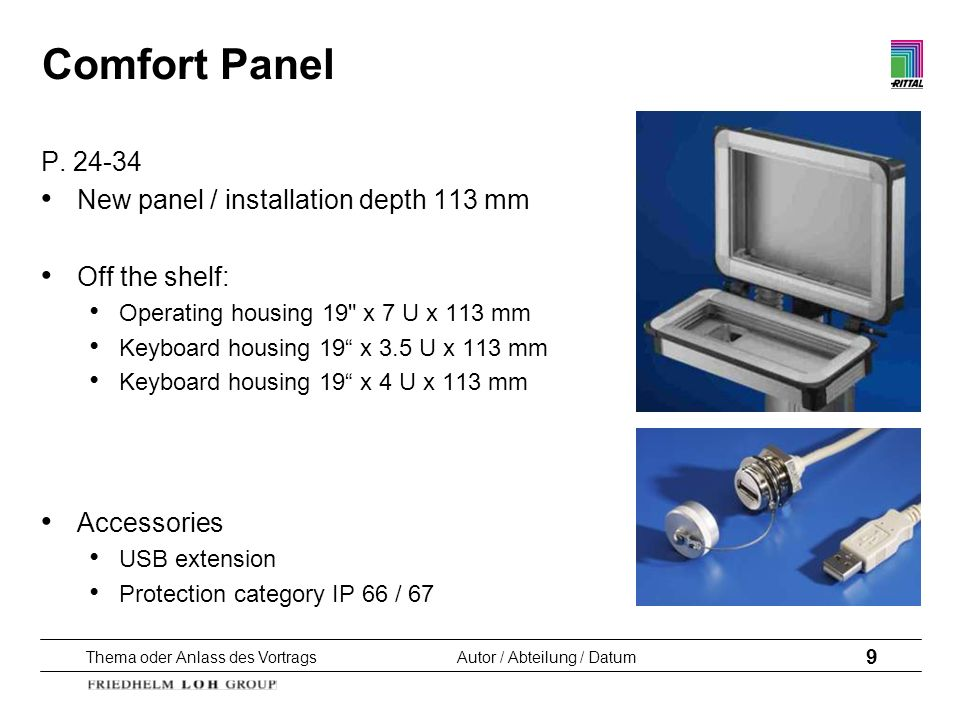 Comfort Panel P. 24-34 New panel / installation depth 113 mm