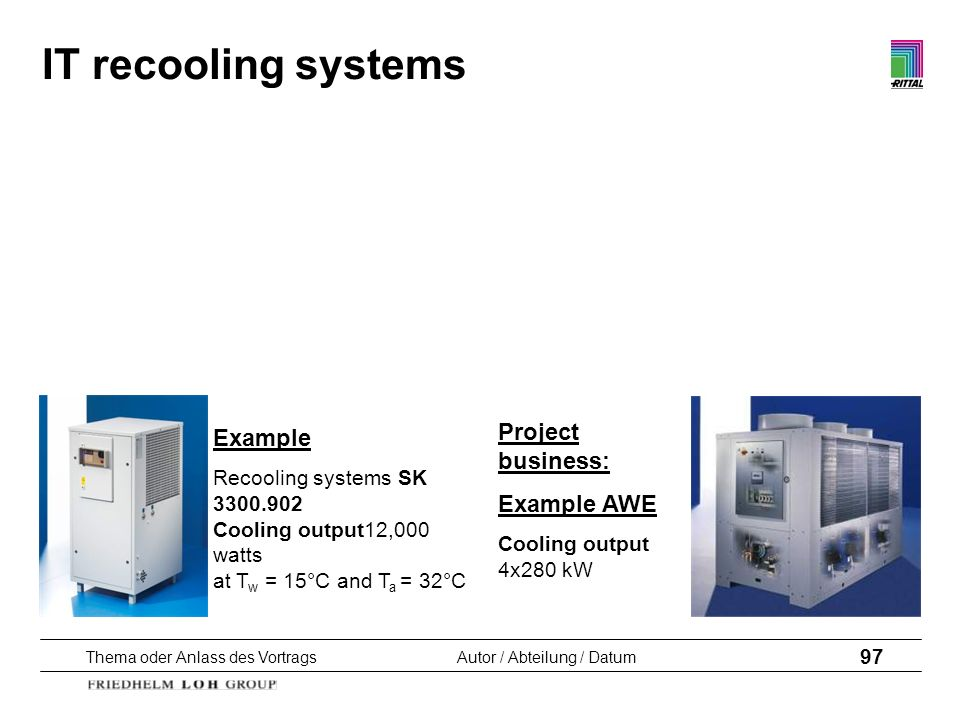 IT recooling systems Project business: Example Example AWE