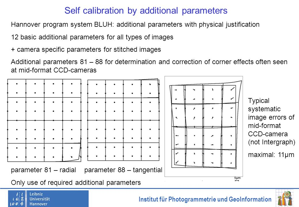 Self calibration by additional parameters
