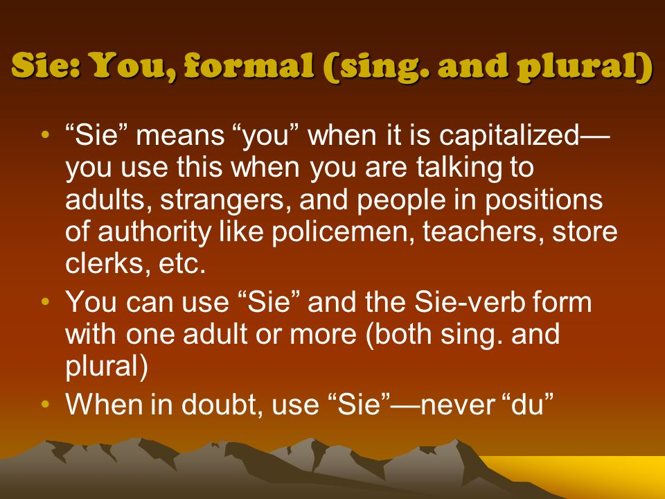 Sie: You, formal (sing. and plural)
