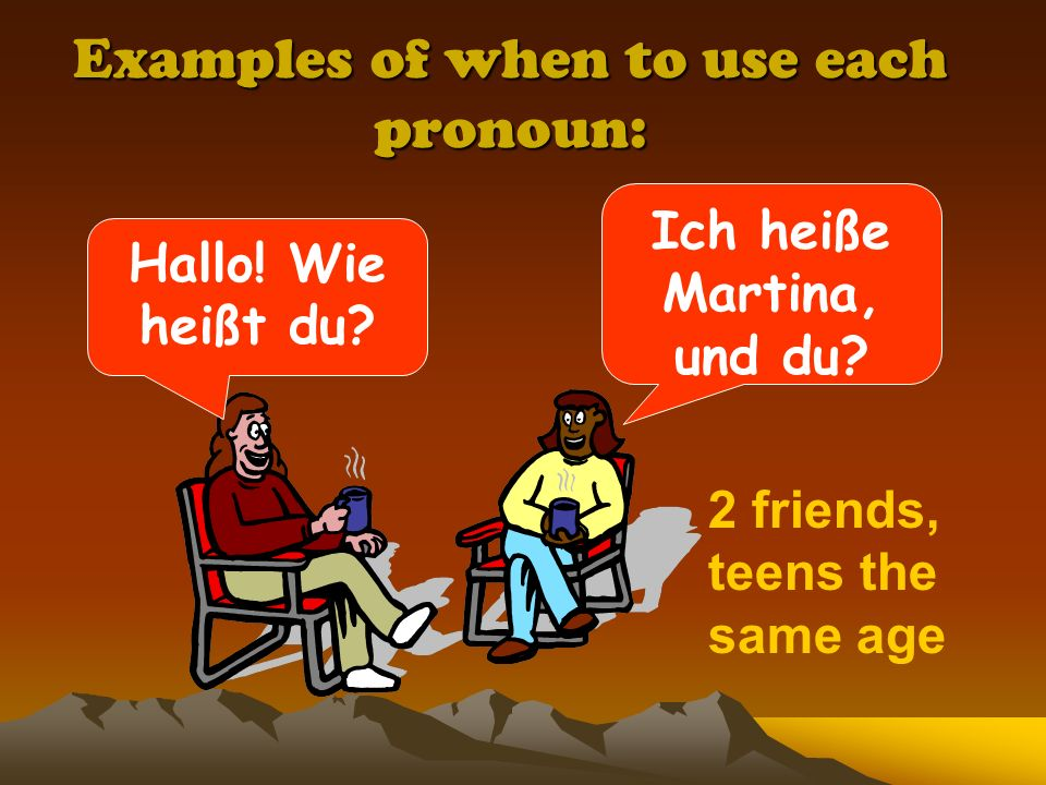 Examples of when to use each pronoun: