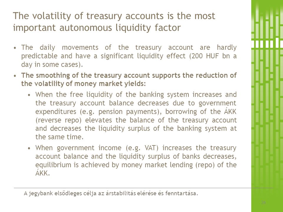 The volatility of treasury accounts is the most important autonomous liquidity factor
