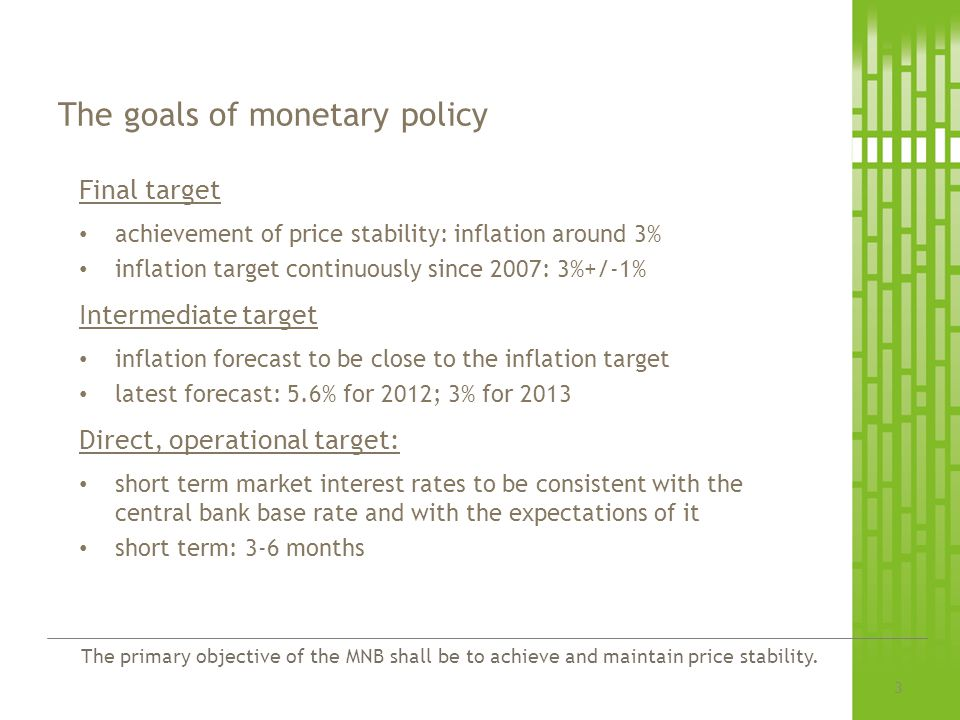 The goals of monetary policy
