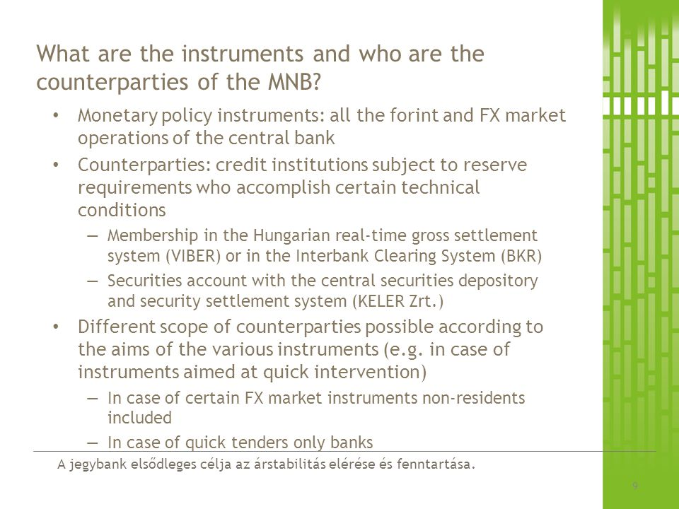 What are the instruments and who are the counterparties of the MNB