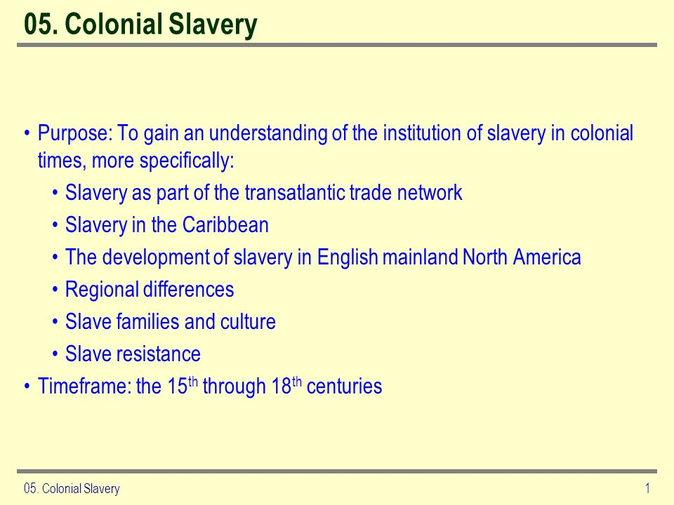 05. Colonial SlaveryPurpose: To gain an understanding of the institution of slavery in colonial times, more specifically: