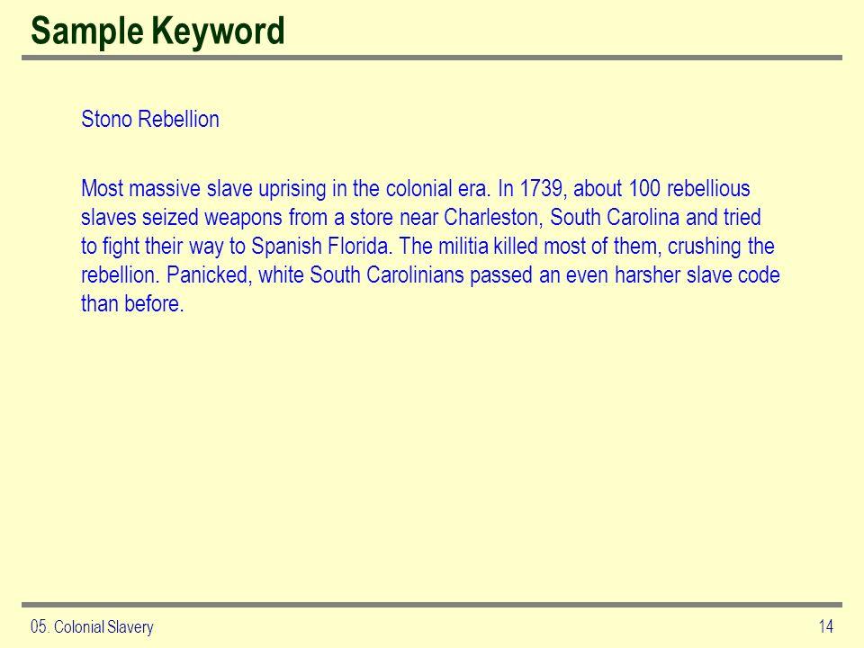 Sample Keyword Stono Rebellion