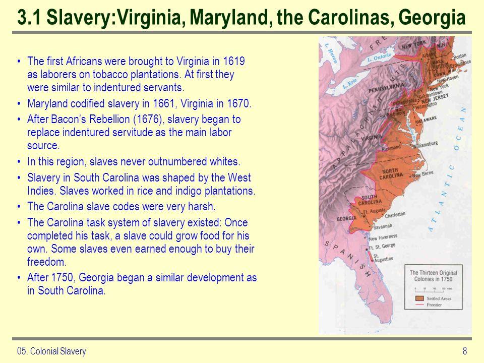 3.1 Slavery:Virginia, Maryland, the Carolinas, Georgia
