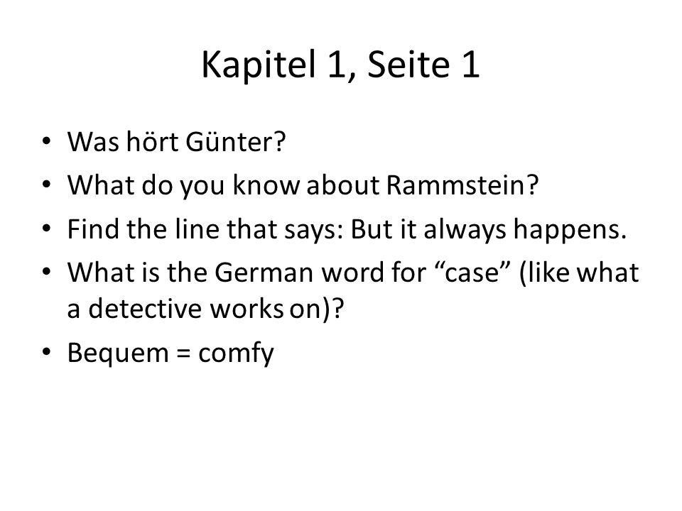 Kapitel 1, Seite 1 Was hört Günter What do you know about Rammstein