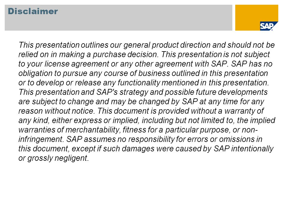 SAP TechEd 08Disclaimer.