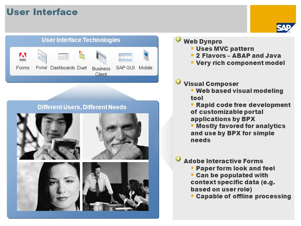 User Interface Technologies Different Users, Different Needs