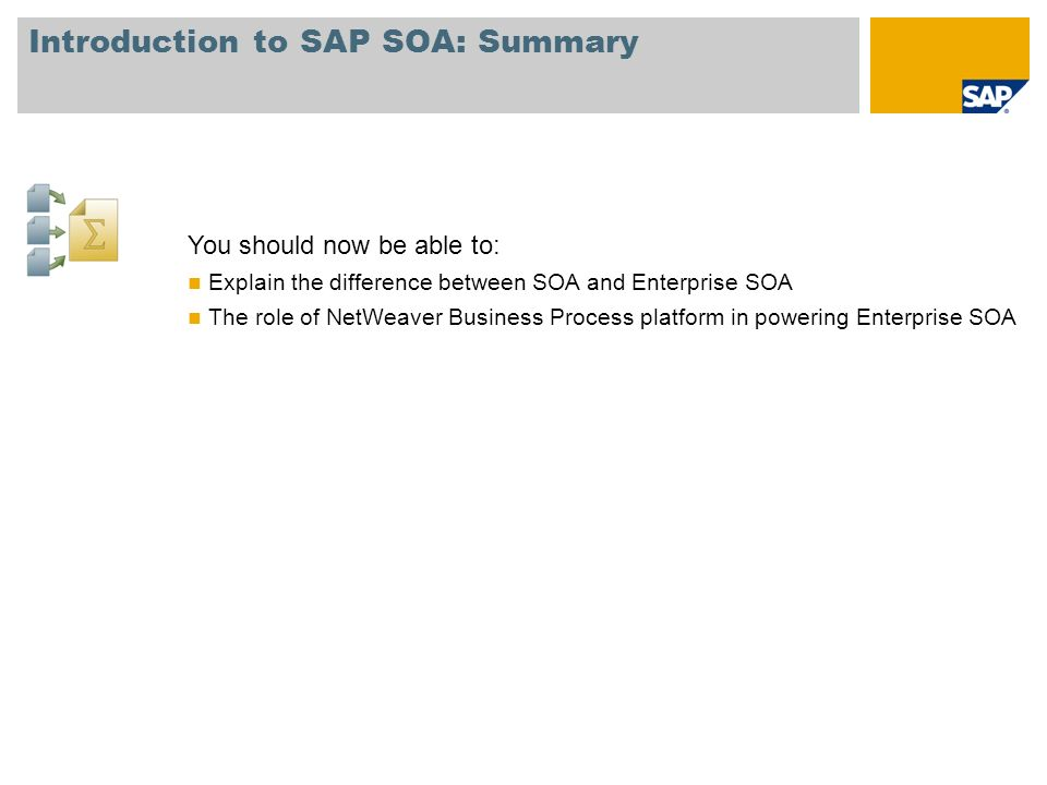 Introduction to SAP SOA: Summary