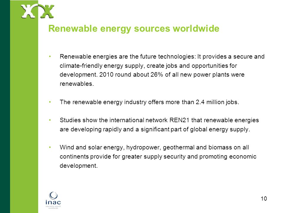 Renewable energy sources worldwide