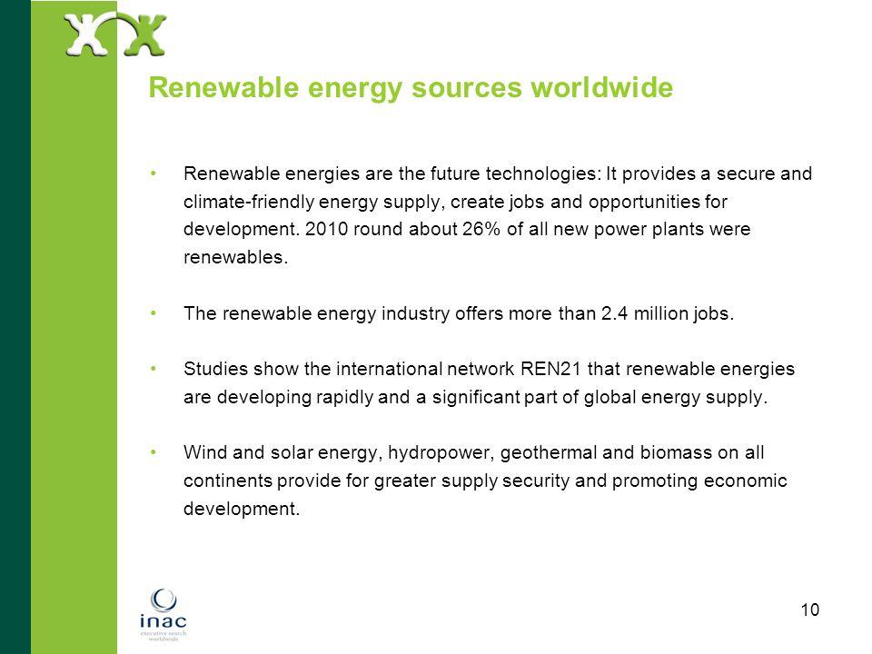 Renewable energy sources worldwide