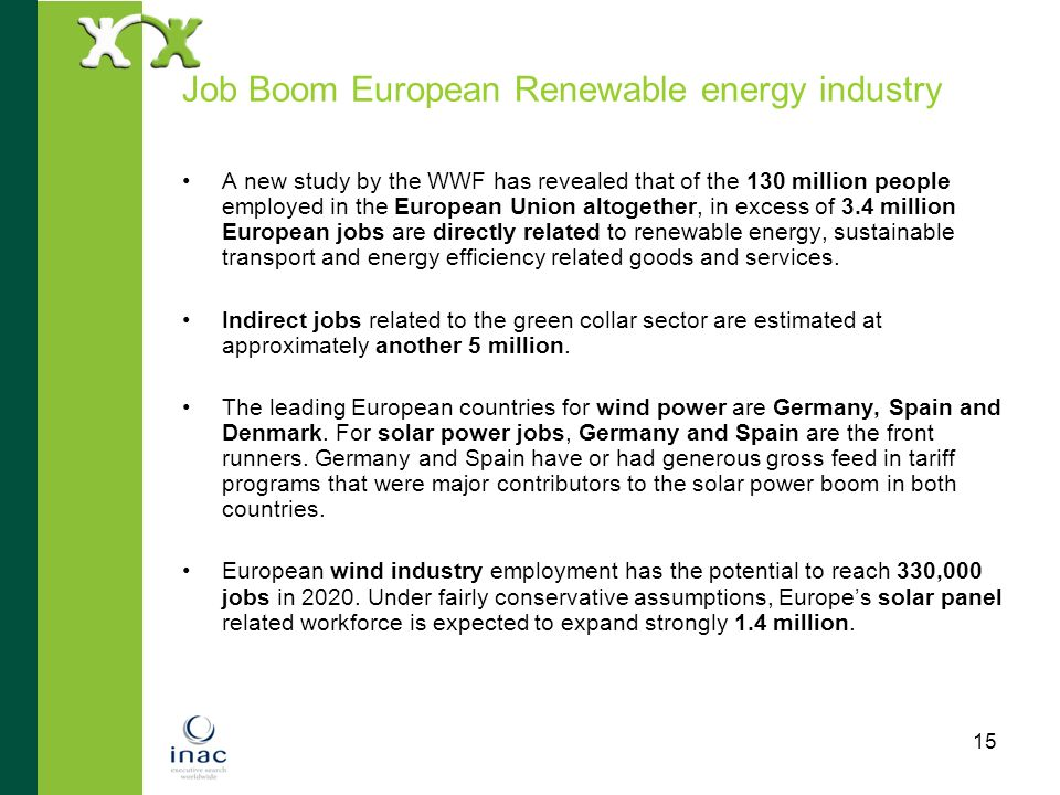 Job Boom European Renewable energy industry