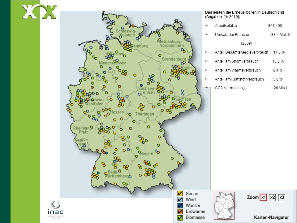 Das leisten die Erneuerbaren in Deutschland (Angaben für 2010):