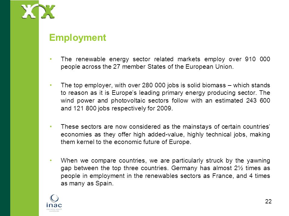 EmploymentThe renewable energy sector related markets employ over 910 000 people across the 27 member States of the European Union.