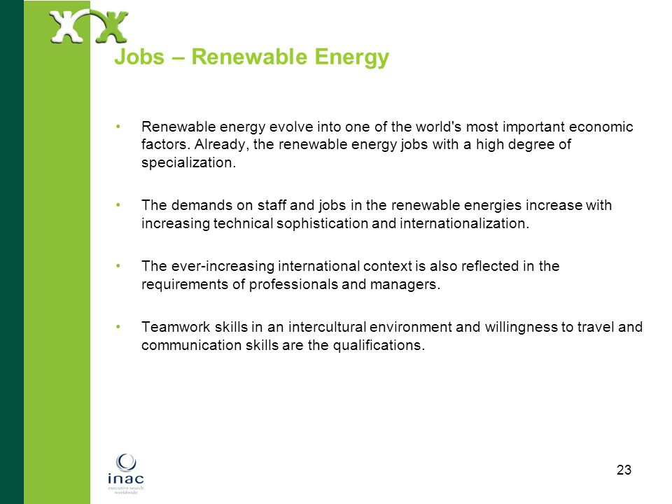 Jobs – Renewable Energy
